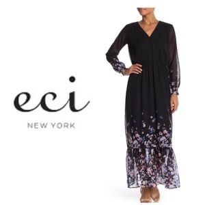 ECI Sheer Black Floral Print Border Maxi Dress S